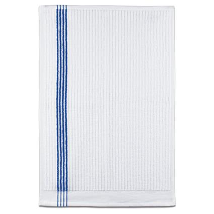 "Junior By Towel - 16"" x 24"" 2.7 lbs./doz. White w/Blue Stripes"