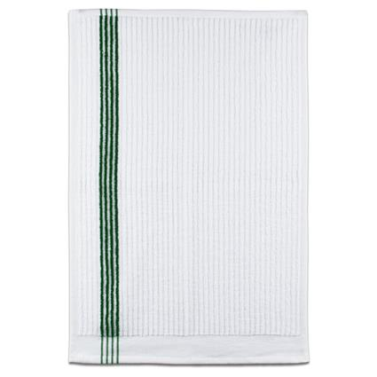 "Junior By Towel - 16"" x 24"" 2.7 lbs./doz. White w/Green Stripes"