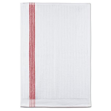 "Junior By Towel - 16"" x 24"" 2.7 lbs./doz. White w/Red Stripes"