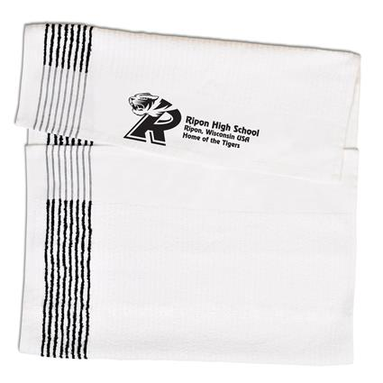 "Super Gym Towel - 22"" x 44"" 7 lbs./doz. White w/Black Stripes"