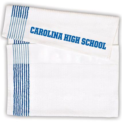 "Super Gym Towel - 22"" x 44"" 7 lbs./doz. White w/Blue Stripes"