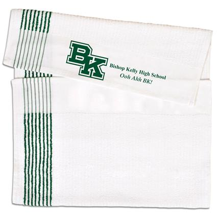 "Super Gym Towel - 22"" x 44"" 7 lbs./doz. White w/Green Stripes"