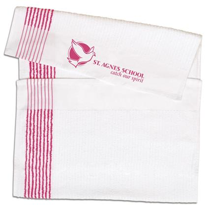 "Super Gym Towel - 22"" x 44"" 7 lbs./doz. White w/Pink Stripes"