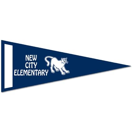 "Classic Pennant - 4"" x 10"" White Felt w/Screened Strip"