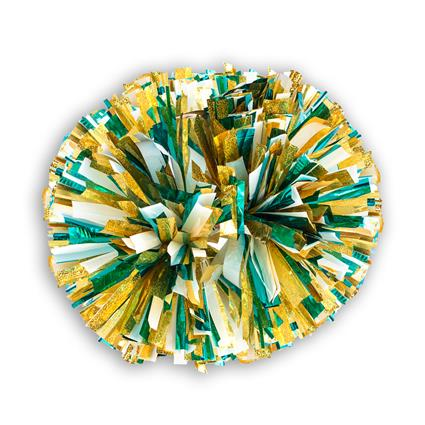 "Holographic Show Pom - 4"" Gold Holographic w/2-Color Metallic"