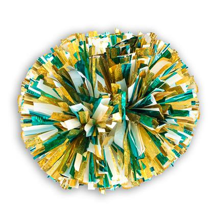 "Holographic Show Pom - 5"" Gold Holographic w/2-Color Metallic"