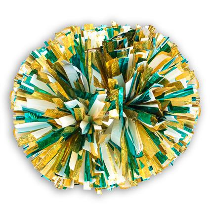"Holographic Show Pom - 6"" Gold Holographic w/2-Color Metallic"
