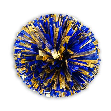 "Holographic Show Pom - 4"" Gold Holographic w/1-Color Metallic"