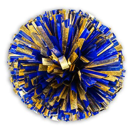 "Holographic Show Pom - 6"" Gold Holographic w/1-Color Metallic"