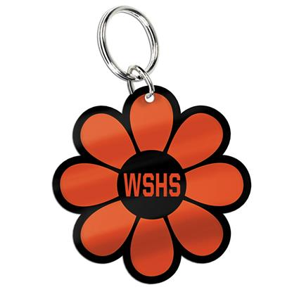 "Glossy Print Key Ring - 1.996"" x 1.996"" Flower"