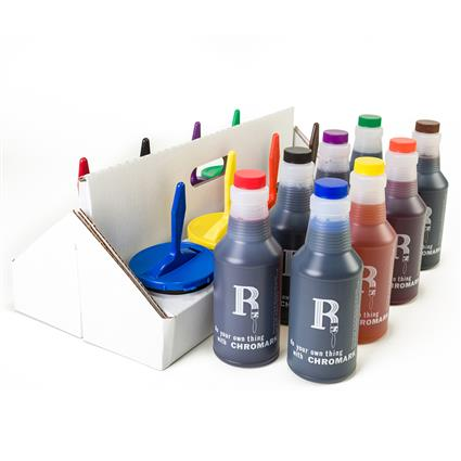 "8 Color Economy Kit - 8 of each includes caddy  3"" markers, inkwells, quarts of ink"